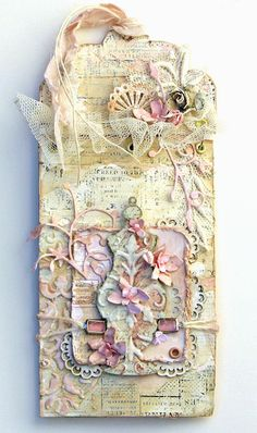 Shabby Chic Tag featuring an apothecary jar chipboard piece from Blue Fern Studios.