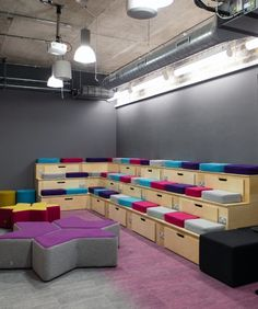Collaboration area | Tiered seating | Gresham | Interaction offices | Office Design | Cool offices in Bristol | Colourful office