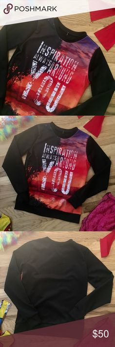 """Inspirational 40% Bundles sale You don't even have to say it just display it! Walk around sending out good vibes wherever you go. sweatshirt style without the sweatshirt feel. Great quality and feels wonderful. Lighter weight, soft, and supple.  Approx 18 1/2"""" underarm across, 21"""" shoulder to hem. Tag size is small but may  fit a Med as well please see measurements. Be a walking 🚶🏽 billboard of wisdom! Fashion Up Bright fab graphics! Marked down. Fashion Up Tops Sweatshirts & Hoodies"""