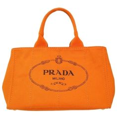 Pre-owned Prada Auth Canapa Tote Canvas Bn1872 (bf079885) Shoulder Bag ($902) ❤ liked on Polyvore featuring bags, handbags, tote bags, orange, zippered tote bag, prada handbags, canvas handbags, orange handbags and zip tote bag