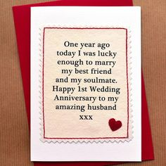 1st Wedding Anniversary Gift Husband : for husband anniversary sayings anniversary idea wedding anniversary ...