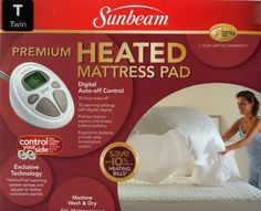 "Sunbeam Premium Heated Mattress Pad - Twin Size by Sunbeam. $59.99. Digital auto-off control. 10 hour auto-off. Ergonomic buttons provide easy temperature control. 10 warming settings with digital display. 5 Year limited warranty. Preheat feature warms cold sheets before bedtime. Fits mattresses up to 18"" deep. Machine wash & dry. Save 40%!"
