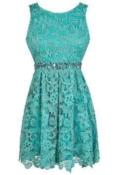 ... Story Rhinestone Lace A-Line Dress in Teal www.lilyboutique.com More
