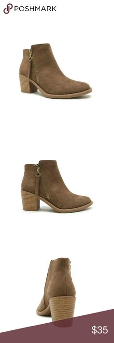 "Western-style booties side zipper, stacked heel. Western-style booties side zipper, stacked heel.  Soft faux suede forms the cutest ankle boots with an angled shaft for structural style! Almond toe and faux stacked heel offer a subtle nod to Western styling, complete with a side zip closure for a modern twist!  Material: Man made, Faux Suede  Sole: Synthetic  Measurement: Heel Height: 2 5/8"" (approx)  Platform: 1/4"" (approx)  Fitting: True to size Qupid Shoes Ankle Boots & Booties"