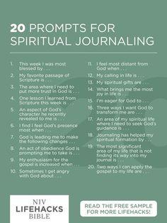 20 prompts for spiritual journaling Journal Prompts, Christian Journaling Prompts, Scripture Journal, Devotional Journal, Prayer Journals, Faith Bible Verses, Prayer Journal Printable, Gratitude Journals, Niv Bible