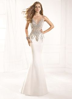 Trumpet/Mermaid Scoop Neck Sweep Train Satin Tulle Evening Dress With Beading (0175056118)