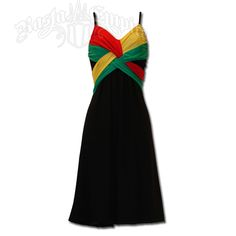 Rasta and Reggae Short Spaghetti Strap Dress #rasta #reggae #dress