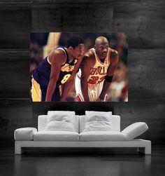 906b218fd8a9 Michael Jordan VS Kobe Bryant Dunk Art Poster by mporto73 on Etsy