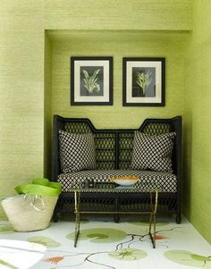 chic green and black foyer with green grasscloth wallpaper.