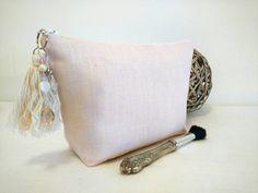 Blush pink makeup bag pink linen makeup bag by CoussinsElegance
