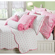 @Overstock - Durham Pink Polka Dot Quilt Set - Give your bedroom decor colorful flair with a polka dot bedding ensembleBedding set includes a quilt and two shams (one with twin set)Quilt features small pink dots and piping, ideal for kids' bedding     http://www.overstock.com/Bedding-Bath/Durham-Pink-Polka-Dot-Quilt-Set/3465572/product.html?CID=214117  $69.99