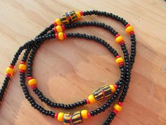 Meet me at Sunset - Black Waist beads with pops of color and African Trade Beads by Royal Waistbeads