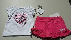 Calvin Klein Flower heart 2pc skirt set Size 0-3 months Brand new with tags