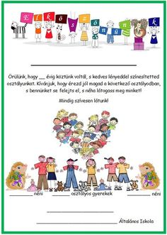 Osztály elköszönés osztálytárs Classroom Decor, Crafts To Make, Signage, Quotations, Clip Art, Printables, Teacher, Motivation, Math