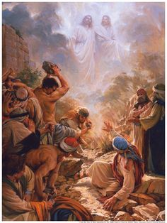Stephen Sees Jesus on The Right Hand of God Christian Art Print Photo 52 Bible Pictures, Jesus Pictures, Lds Art, Bible Art, Religious Paintings, Religious Art, Spiritual Paintings, Arte Lds, Our Father In Heaven