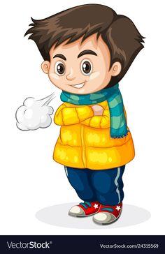 Cold kid white background vector image on VectorStock Weather Words, Crochet Towel, Bear Art, Book Illustration, Preschool Activities, Winter, Clip Art, Animation, Gifs