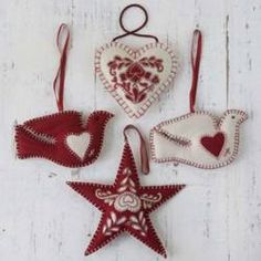 felt ornaments star dove