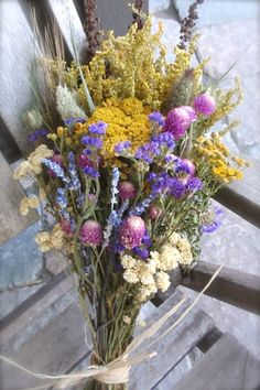 Dried Flower Wheat and Herb Bouquet  All by FamilyDriedFlowers
