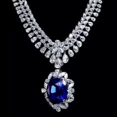 """@dehres. Rightfully named """"Splendor"""", this 120+ carat Royal Blue Sapphire necklace is now showcased at the HK Jewellery & Gems Fair."""