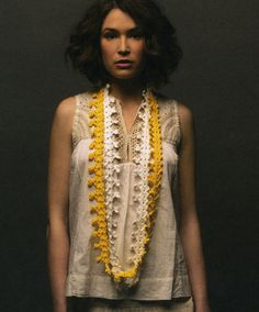 Crochet Necklace from the Crochet Modern Vintage pattern book by Panda Yarn. Materials are Panda Cotton Blend 8ply 50g balls in two colours of your choice (seen here in yellow and white), and a 4.00mm crochet hook. Available at the Gather Shop.