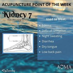 #TipTuesday: #Acupuncture Point of the Week, Kidney 7! #tcm #aoma #ChineseMedicineKidney