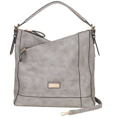 1e6590eec3 Saint Sabrina Handbags - Moxie Asymmetrical Hobo - Light Grey - Relaxed hobo-style  shoulder bag in distressed vegan leather with two zip main compartments.