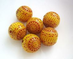 Vintage Patterned Acrylic Beads 8mm Red and Yellow by BarrieBeads for $2.50