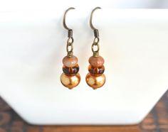Amber dangle earrings topaz bead earrings by izabellahansendesign