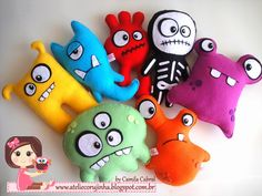 Ateliê Corujinha by Camila Cabral. Good examples for kid sewing project. Monster Toys, Monster Party, Sock Monster, Felt Diy, Felt Crafts, Tilda Toy, Ugly Dolls, Sock Animals, Clay Animals