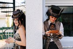 Unique same sex wedding in the German countryside with 'First Non-Look photos', the brides who made all the decorations including their own outfits and steampunk cake! Vintage Diy, Captain Hat, Steampunk, Germany, Weddings, Bride, Unique, Photography, Outfits