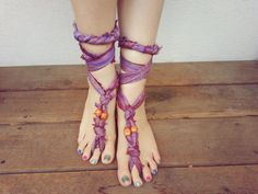 Upcycled Barefoot Sandals  Soleless Shoes  Hippie by beekibeads, $15.00