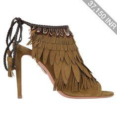 Aquazzura Women 105mm Pocahontas Fringed Suede Boots