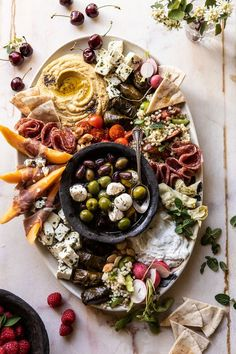 Easy Tzatziki - a great recipe to use on cheese platters, mezze platters or simply for dipping. Perfect for easy eantertaining! Antipasto, Crudite, Cheese Platters, Food Platters, Tapas, Mediterranean Appetizers, Mediterranean Platters, Stuffed Grape Leaves, Homemade Tzatziki