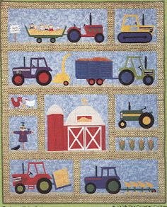 The Virginia Quilter - Quilting Patterns - The Country Quilter - On The Farm Quilt Pattern Farm Quilt Patterns, Applique Quilt Patterns, Owl Applique, Paper Patterns, Pattern Fabric, Quilting Projects, Quilting Designs, Sewing Projects, Tractor Quilt