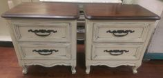 """Here are two gorgeous French nightstands. Perfect to build your set around smile emoticon What do you think? The dimensions are 24"""" L,17"""" W, 24"""" H. SOLD!! for $250"""