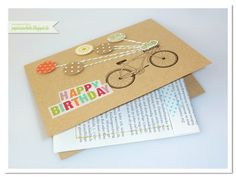 papierrascheln.blogspot.de 》Eine Geburtstagskarte mit Gutschein. Benutzt wurde das Fahrrad von 'Petal Presents' und einiges an Designpapier von Stampin' Up! Der Gutschein im inneren, bestehend aus zwei zusammengenähten Buchseiten, ist mit Washi-Tape verziert.