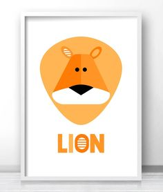 Kids animal wall art print, Modern kids room animal decor, Lion art for nursery