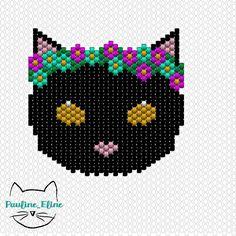 Voici le diagramme du chat fleurs/pompons ! Pour un usage privé et non commercial, merci !  #diagramme #diagrammeperles #jenfiledesperlesetjassume #miyukibeads #miyuki #perle #perlesaddictanonymes #chat #cat #brickstitch #fleur #flowers #pompom #pompon