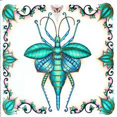 Jungle Nymph! #johannabasford #magicaljungle #prismacolor #winsorandnewton #goldink