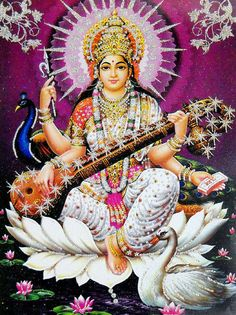 Saraswati ~ Hindu Goddess of knowledge, art, wisdom, music & poetry Indian Gods, Indian Art, Shiva, Ganesha, Saraswati Goddess, Goddess Art, Divine Mother, Sacred Feminine, Hindu Deities