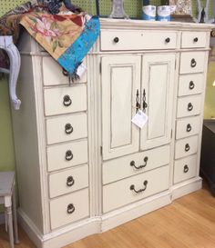 18 drawer chest painted with Creamy Linen Farmhouse Paint.  #farmhousepaint #singlestep #noprep #nowax