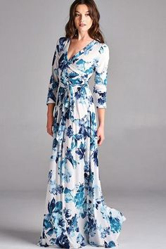 Damsel Blue Floral Wrap Dress - Find the perfect outfit for any occasion at ShopLuckyDuck.com