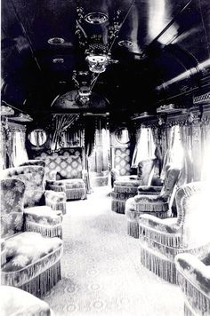 LOVE THE CHAIR FRINGES - Just a car guy : Pullman train cars, the epitome of luxury Palace Cars, Superliners of these), sleeping cars and passenger train cars, Pullman Train, Pullman Car, Rail Train, Train Art, Old Pictures, Old Photos, Orient Express Train, Rail Car, Old Trains