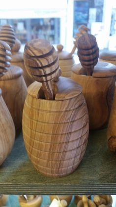 Honey Jars with Honey Sticks Honey Jars, Honey Sticks, Home And Living, Wood, Home Decor, Decoration Home, Woodwind Instrument, Room Decor, Timber Wood