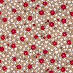 Sale HALF YARD -  Mini Flowers on Beige Tan Stone - Red and White Daisies - LAWN - Cosmo Textile Japanese Import Fabric by fabricsupply on Etsy