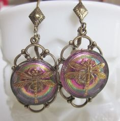 Iridescent Pink Lavender Glass Dragonfly Button Earrings.  Gold Luster Trim.  Antiqued Brass Drops. Lever Backs.  OneWomanRepurposed B 994 by OneWomanRepurposed on Etsy