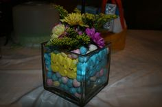 Easter centerpiece #1.  Inspired by http://easter.tipjunkie.com/easter-centerpiece-using-peeps-tulips/