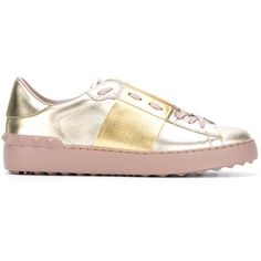 Valentino Garavani Open Sneakers ($580) ❤ liked on Polyvore featuring shoes, sneakers, gold, yellow sneakers, flat sneakers, lace up sneakers, leather sneakers and lacing sneakers
