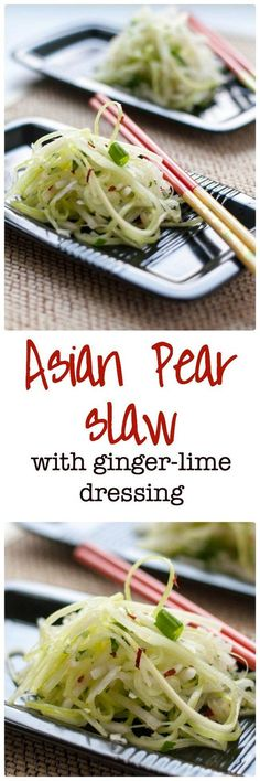 Paleo Asian Pear Slaw with Ginger and Lime. A refreshing vegan slaw made with Asian pears (apple pears), celery, and fennel and lightly dressed with a ginger-lime vinaigrette. This is a perfect accompaniment to Thai or Asian dishes.
