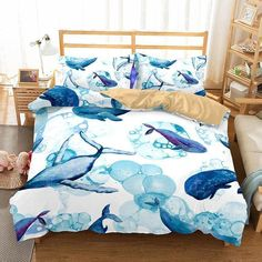 Animal Whale  Bedding Sets Duvet Cover Comforter Cover Pillowcase Bedroom Pillows Queen